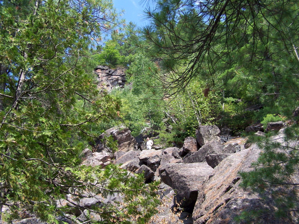 Through a frame of pine and cedar branches, a figure stands looking down from midway up a boulder-covered slope.