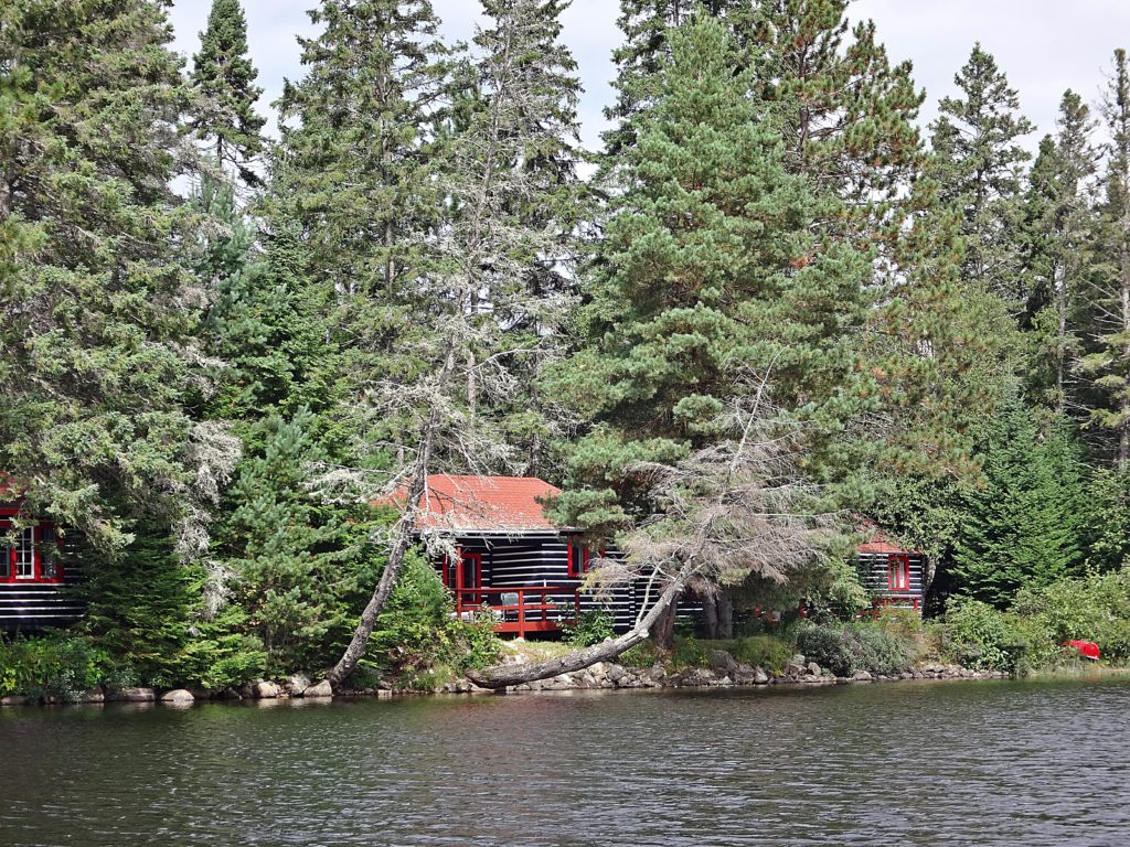 A pretty cottage sits under cedar trees on the shore of Lake of Two Rivers.
